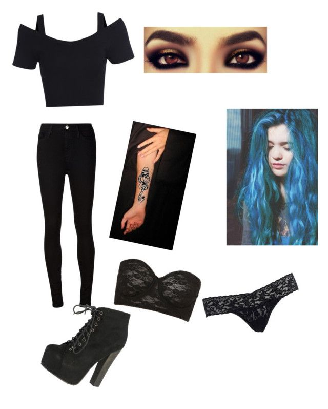 deatheater meeting by daniellabramhall on Polyvore featuring AG Adriano Goldschmied, Hanky Panky, Topshop and Breckelle's