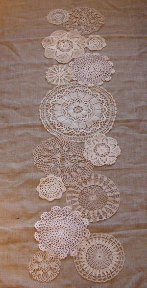 doilies on berlap