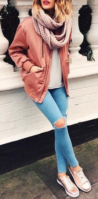 #fall #outfits / pink jacket + denim