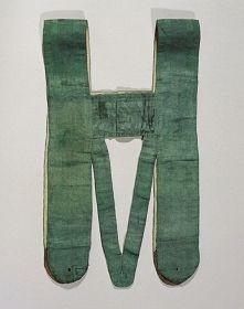 Andreas Hofers Hosenträger, 1809   grüner Seidendamast, L ca. 60 cm, B am Brustlatz ca. 34 cm  Historische Sammlungen, Inv.-Nr. Patriotika 3