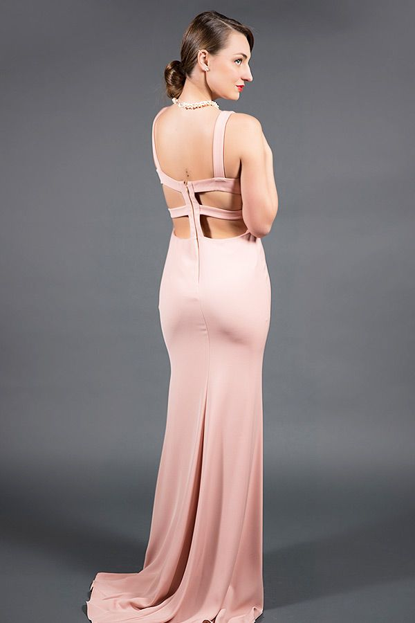 Blush Cut out Evening Gown