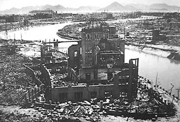 """The building was the former Hiroshima Prefecture Industrial Promotion Hall, where special products of Hiroshima were exhibited and various gatherings were held until the A-bomb was dropped. Since it was located just under the hypocenter, blast pressure was vertically exerted on the bulding and only the dome-shaped framework and part of the outer wall remained. It has come to be called """"the A-bomb Dome""""."""