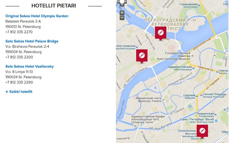 Löydä Pietarin Sokos-hotellit kartalta.