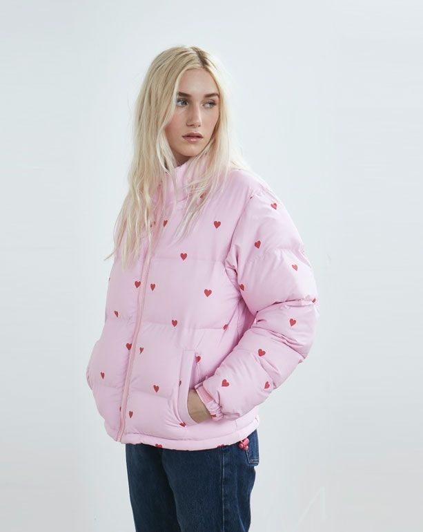 Lazy Oaf Romance Pink Puffer Jacket - Everything - Categories - Womens