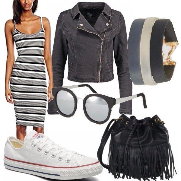 Look casual da giorno, lunghezza ginocchia con giacca jeans nera avvitata. Ho abbinato delle sneakers bianche della Converse (che consiglio di indossare con un fantasmino e non con il calzino), tris di braccialetti in gomma neri e trasparenti ed occhiali da sole con lenti a specchio argentate. Come borsa, a tracolla, borsa con frange Even&Odd in finta pelle a prezzo irrisorio.