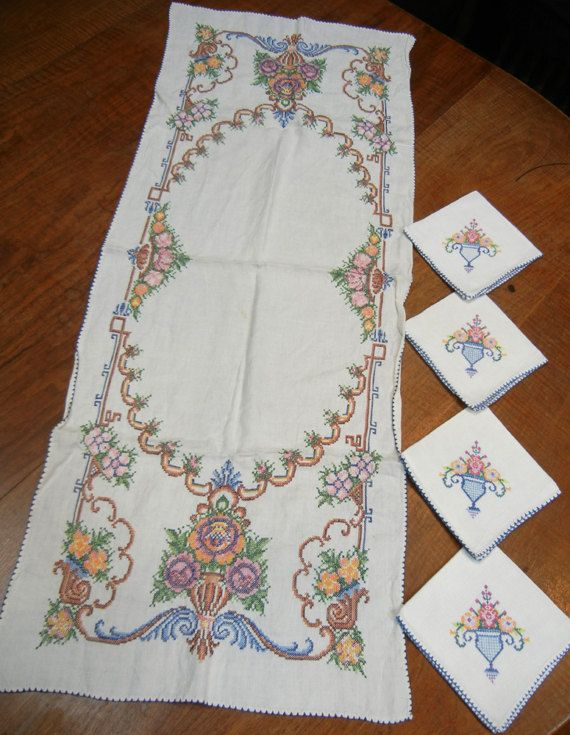 Vintage cross-stitch runner and four napkins  midcentury