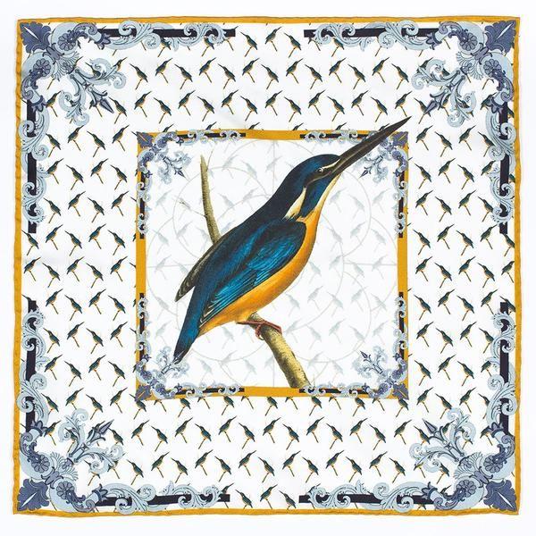 Kingfisher Silk Pocket Square.