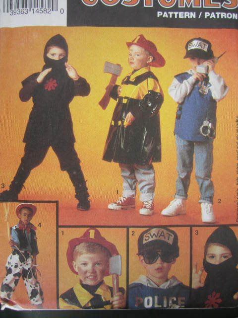 See Sally Sew-Patterns For Less - Fireman Policeman Cowboy Ninja Simplicity 8644 Halloween Costume Pattern Child's Sz. 2 - 12 , $12.99 (http://stores.seesallysew.com/fireman-policeman-cowboy-ninja-simplicity-8644-halloween-costume-pattern-childs-sz-2-12/)