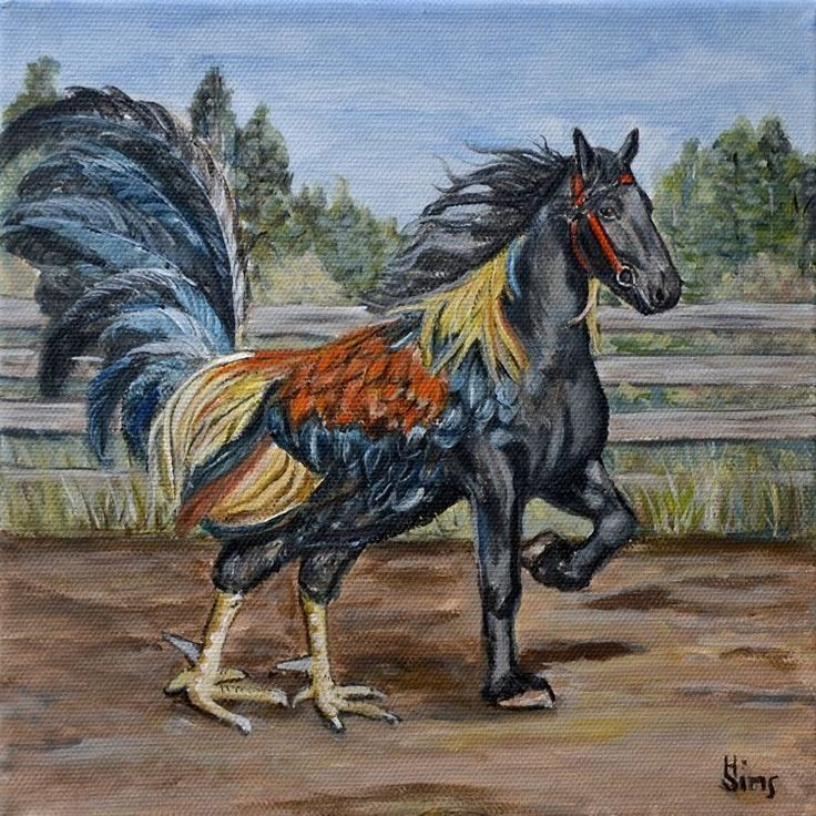 Horse Rooster Original Painting canvas ART Hippalectryon ...