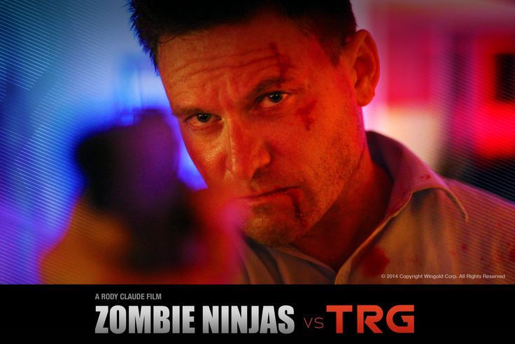 Adam T Perkins in character as action hero DILLON in action feature film, ZOMBIE NINJAS vs TRG.