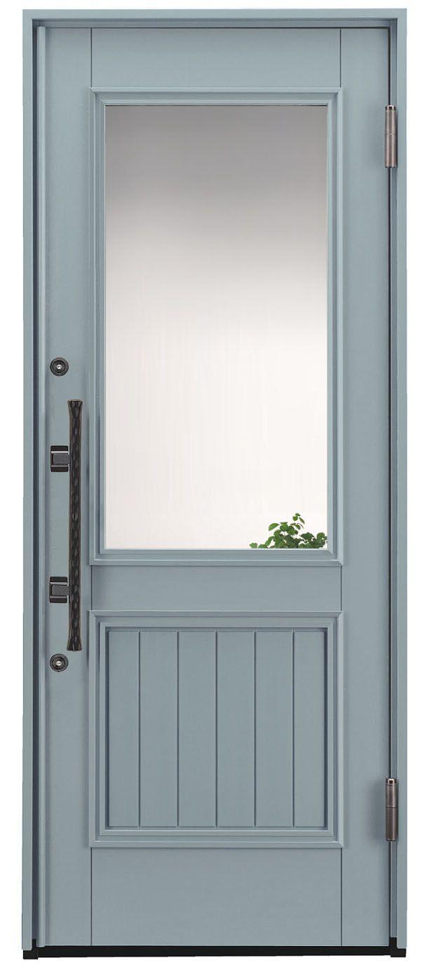 玄関ドア新色 塗りつぶしグレーの木製玄関ドア 玄関ドア 木製