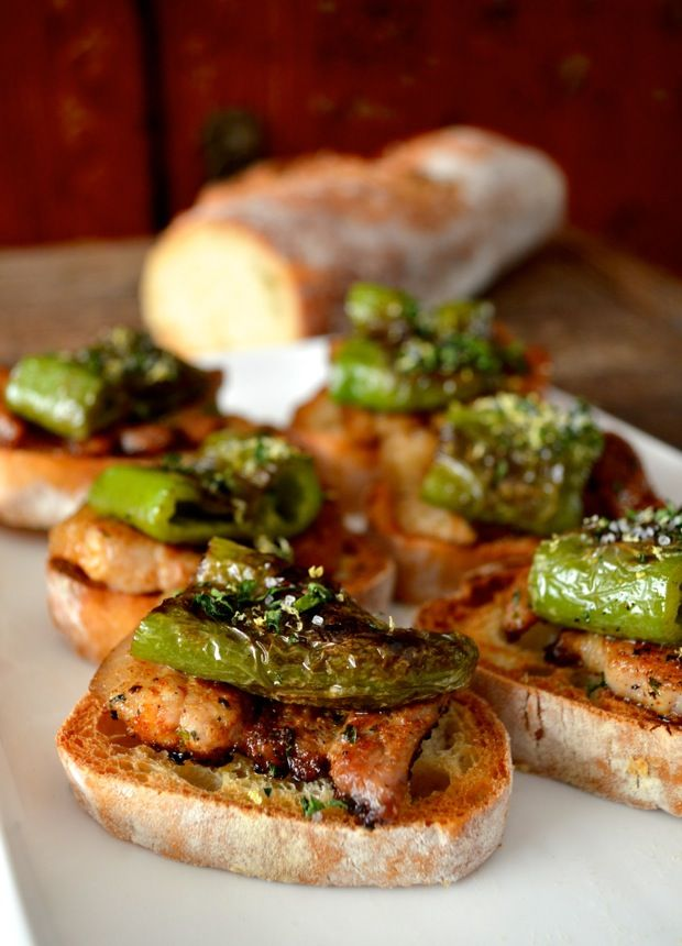 "Seared Pork Belly and Green Pepper ""Pinchos"" Appetizers - inspired by tapas we had in Spain. Insanely good, and impressive to serve at parties. [The Woks of Life]"