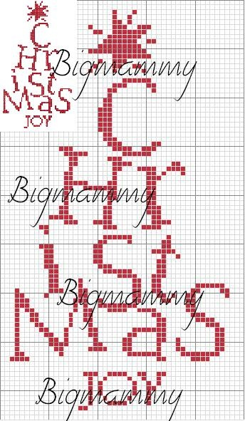 christmas word as tree cross stitch pattern! (cute!!)