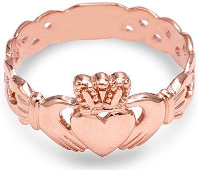 Ladies 10k Rose Gold Claddagh Ring with Trinity Band
