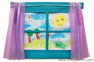 "A perfect crafty way to teach all sorts of vocab areas to ESL kids. You could review the weather, you could revise ""can"" as they describe what they can see through the other children's arty window, maybe you could reverse the idea and look into a house and cover the furniture vocab... a million possibilities."