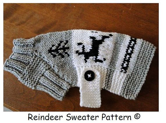 Knitting Pattern For Pug Jumper : Dog Sweater Pattern..Reindeer BT/Pug Sizing Reindeer, Sweater patterns and ...