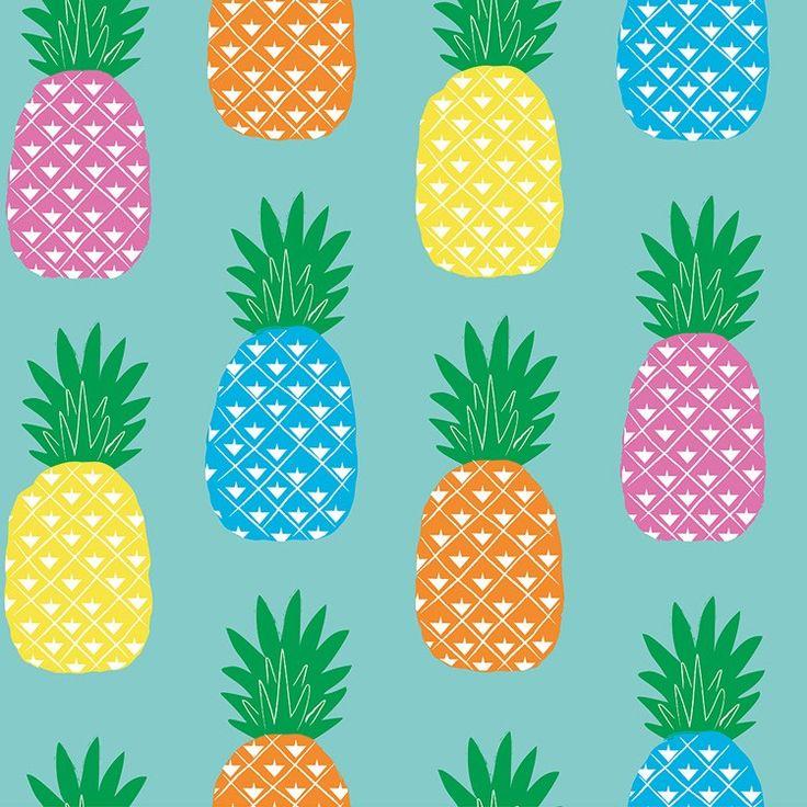 Tafelzeil Piña (Ananas) - Kitsch kitchen tafelzeil met frisse print van ananassen in allerlei hippe kleurtjes. Het tafelzeil is gemakkelijk afwasbaar met een vochtige doek. Kies de gewenste lengte in het menu en we snijden het voor u op maat.