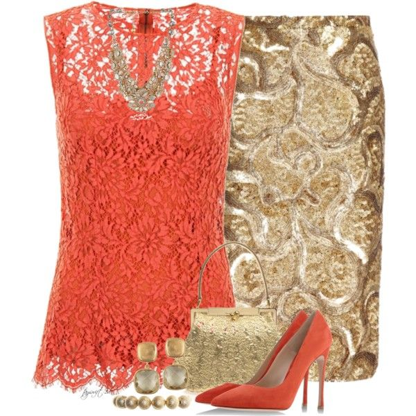 """""""Coral and Gold under $5OOO"""" by tayswift-1d on Polyvore"""