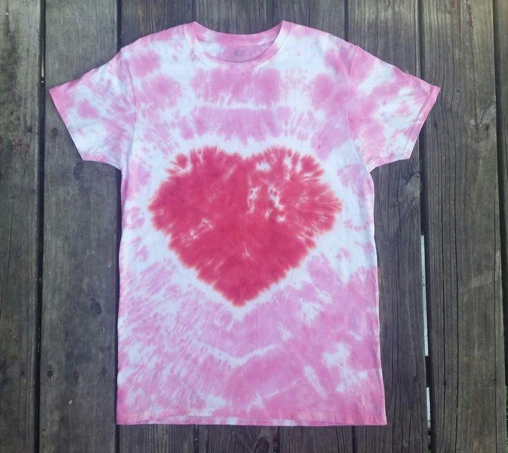 Pink heart tie dye, hippie top, heart shirt, women's tie dye, tie dye tshirt, girly tie dye, pink heart, tiedye, pink, heart tie dye, heart by SerenityScarvesNStuf on Etsy
