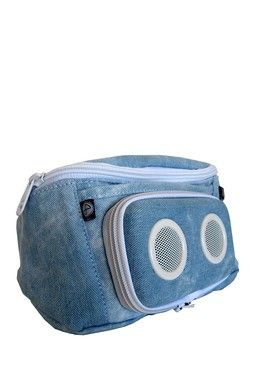 Denim Stone Blue Fanny Pack with Speakers