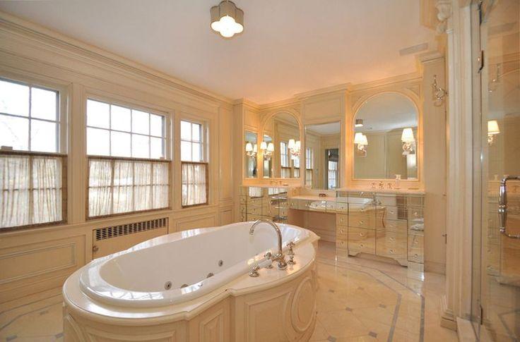 Традиционный мастер ванной с Drop-в ванной, на заказ Зеркала, настенные бра, Flush, стеклянная панель, обшивкой, корона литья