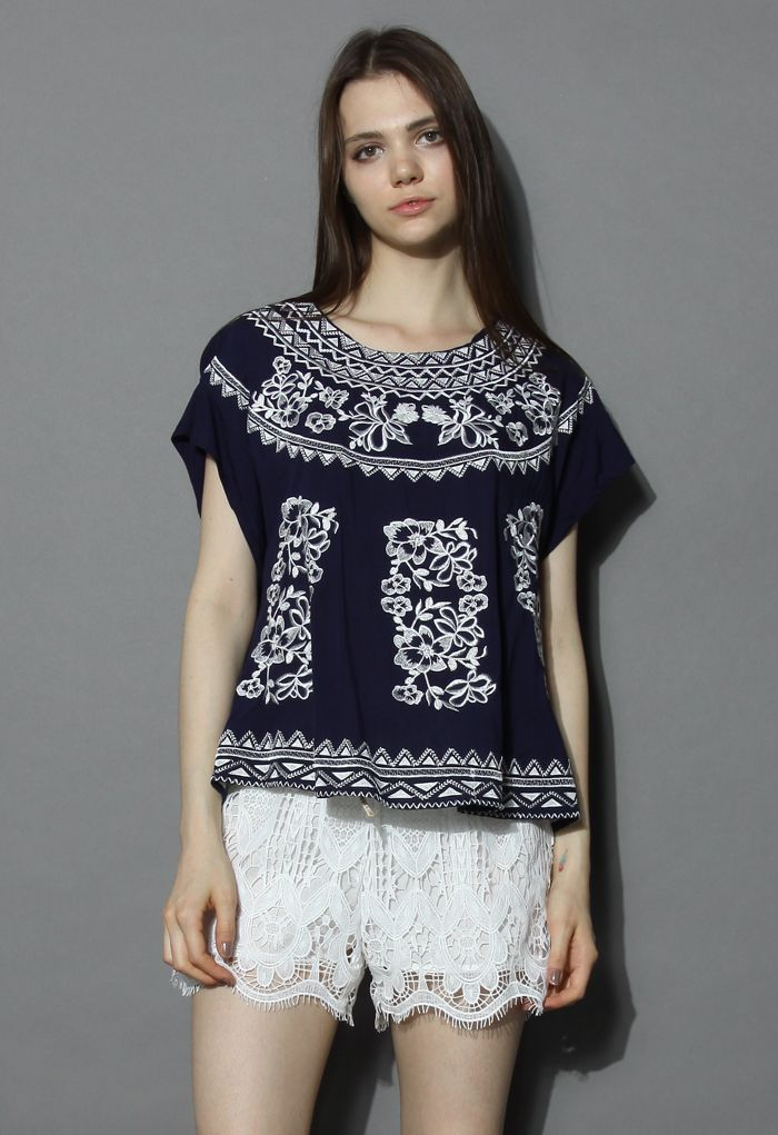 Botanic Embroidered Navy Smock Top - New Arrivals - Retro, Indie and Unique Fashion