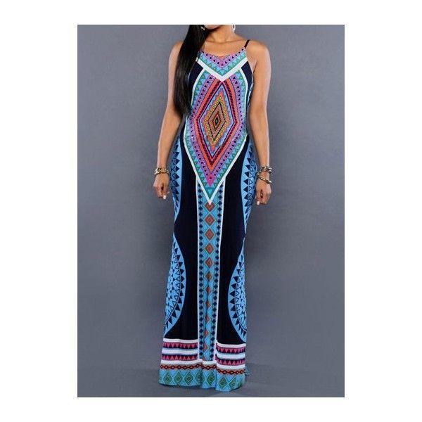 Side Slit Tribal Print Maxi Dress ($22) ❤ liked on Polyvore featuring dresses, navy blue, tribal maxi dress, navy maxi dress, boho dresses, navy dress and blue sleeveless dress