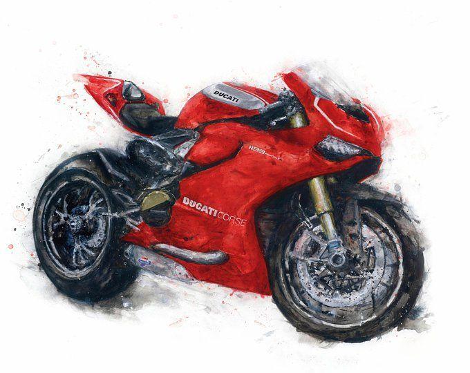 красный мотоцикл картинки рисунки область чьей-то грезы