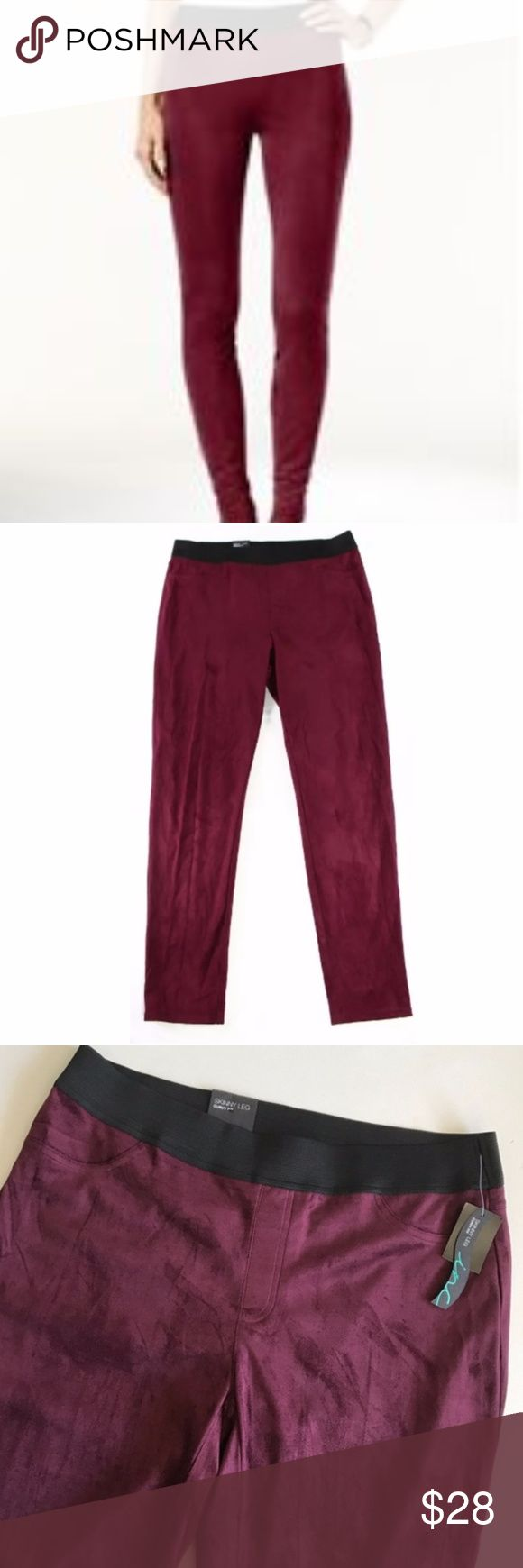 """INC Port Skinny Leg Faux Suede Curvy Fit Legging NC International Concepts Pants - Port Skinny Leg Faux Suede Curvy Fit Legging Regular fit, pull on with a skinny leg.  Waistband is elasticized. Polyester/Spandex material. Pockets are only in the back. Color is closest to a burgundy or cabernet wine.   Measurements: Inseam: approx. 31"""" Rise: approx. 9.5"""" INC International Concepts Pants Leggings"""