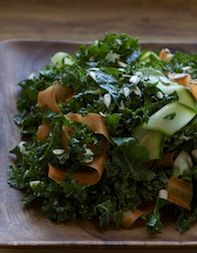 Salad - Kale and Raw Vegetable Salad with Goat Cheese Dressing  Recipe adapted from Vitaly Paley and Ben Bettinger, Imperial, Portland, OR