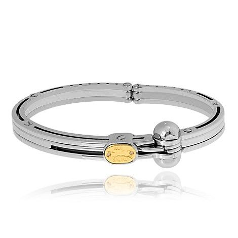Sauro stainless steel bracelet comes with 18k yellow gold and diamonds logo. $345.