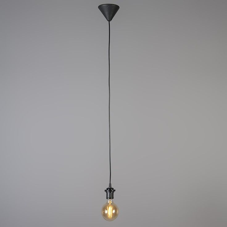 Pendant light pendel 80cm e27 modern black polyester suitable for led
