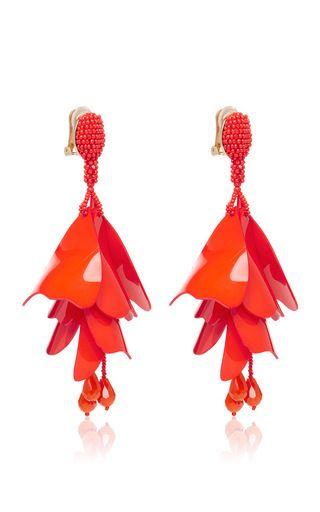 These **Oscar de la Renta** earrings feature abstract tiered Perspex petals and a beaded drop for a modern, feminine accessory.