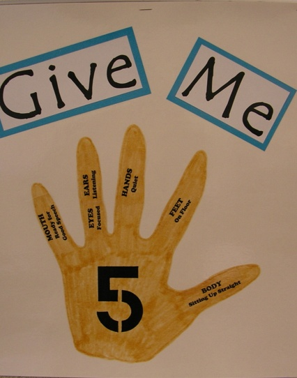 Give Me Five - Speech Rules/Expectations  by Ana Paula G. Mumy, M.S., CCC-SLP.  Pinned by SOS Inc. Resources http://pinterest.com/sostherapy.