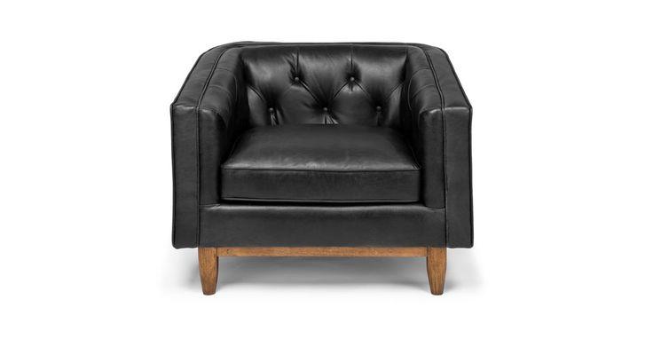 Black Leather Sofa In Walnut Wood Finish Article Alcott