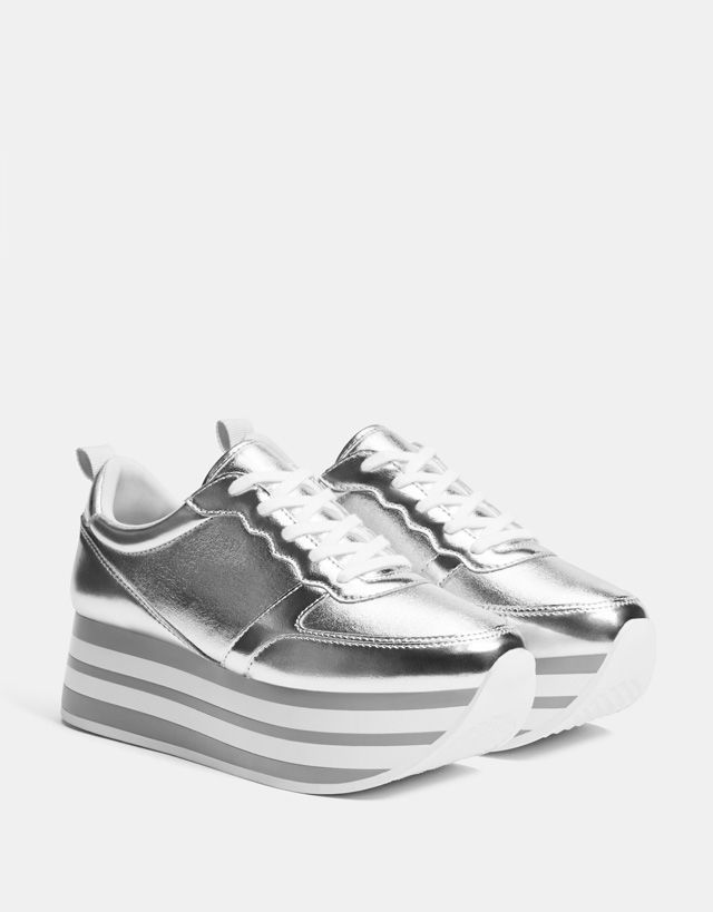 Silver platform sneakers - Bershka