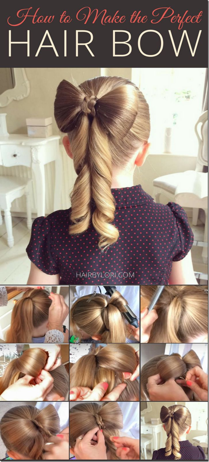 Step by step - how to make the perfect hair bow hairstyle for girls