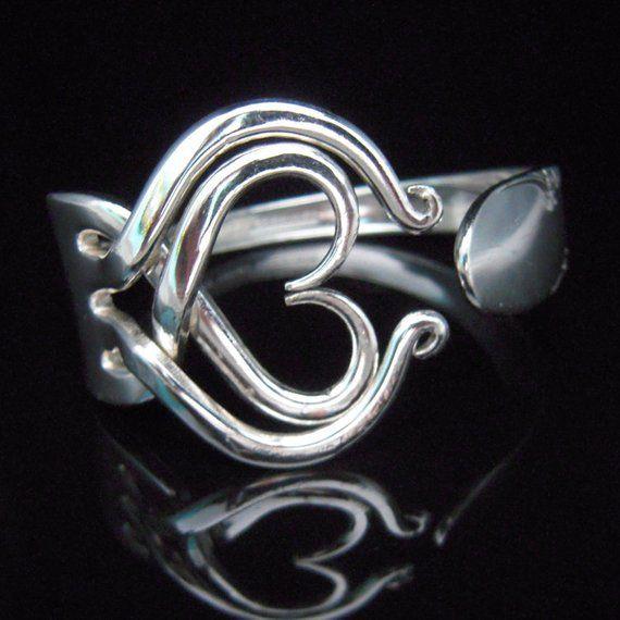 sterling Silver plated Fork Bracelet bangle vtg heart spoon cuff unique