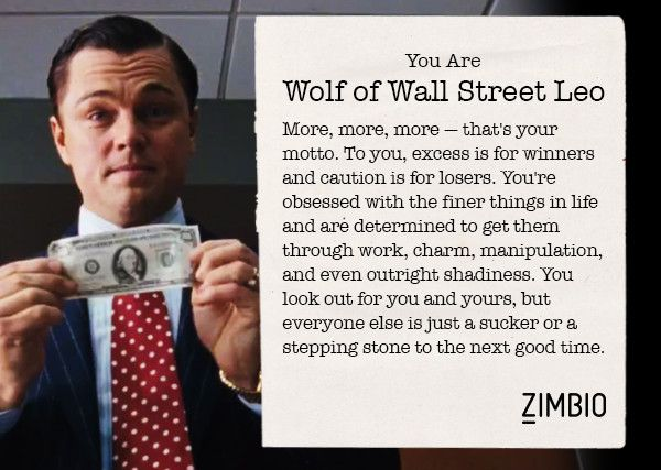 I took Zimbio's Leonardo DiCaprio character quiz, and I'm Wolf of Wall Street Leo. Who are you? #ZimbioQuiznull - Quiz