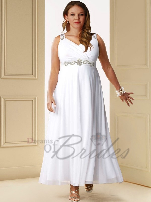 179 chiffon v veck knee length cheap plus size wedding