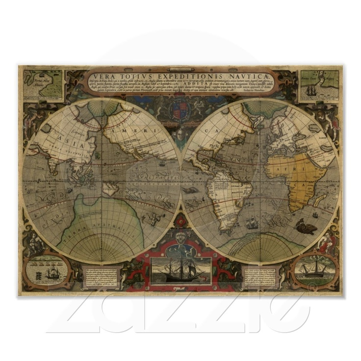 20 best maps images on pinterest antique maps old world maps map of the old world poster sciox Gallery