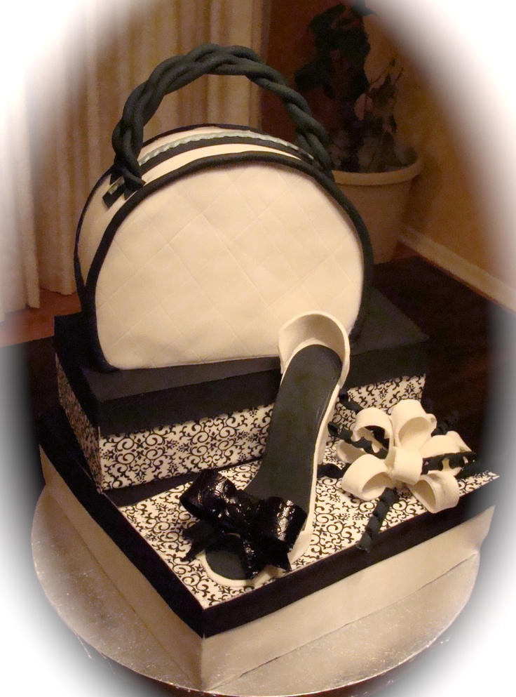 Cake Designs Shoes Handbags : Black and White Purse and Shoe Cake Cakes Pinterest ...