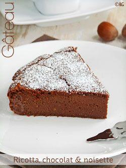 Gâteau à la ricotta, chocolat & noisette