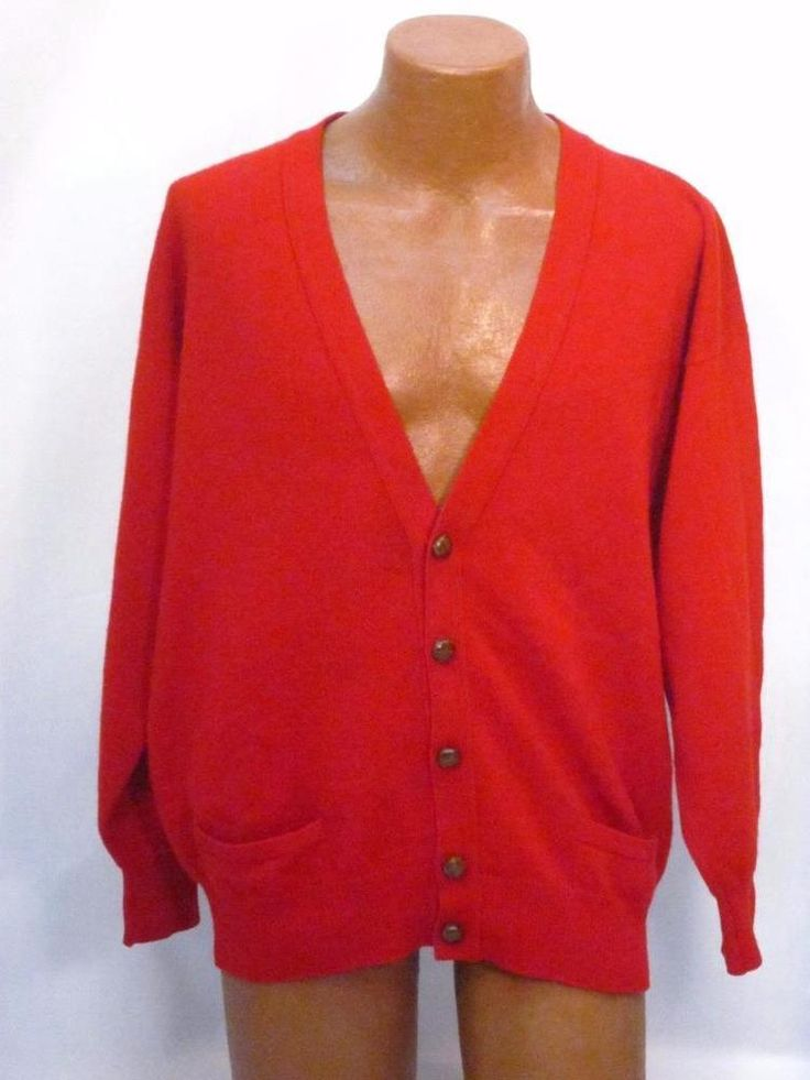 Vintage Pringle Scotland Red Cardigan Sweater Leather Buttons *