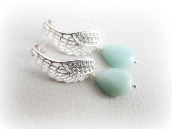 Silver angel wing earrings amazonite gemstone by MalinaCapricciosa