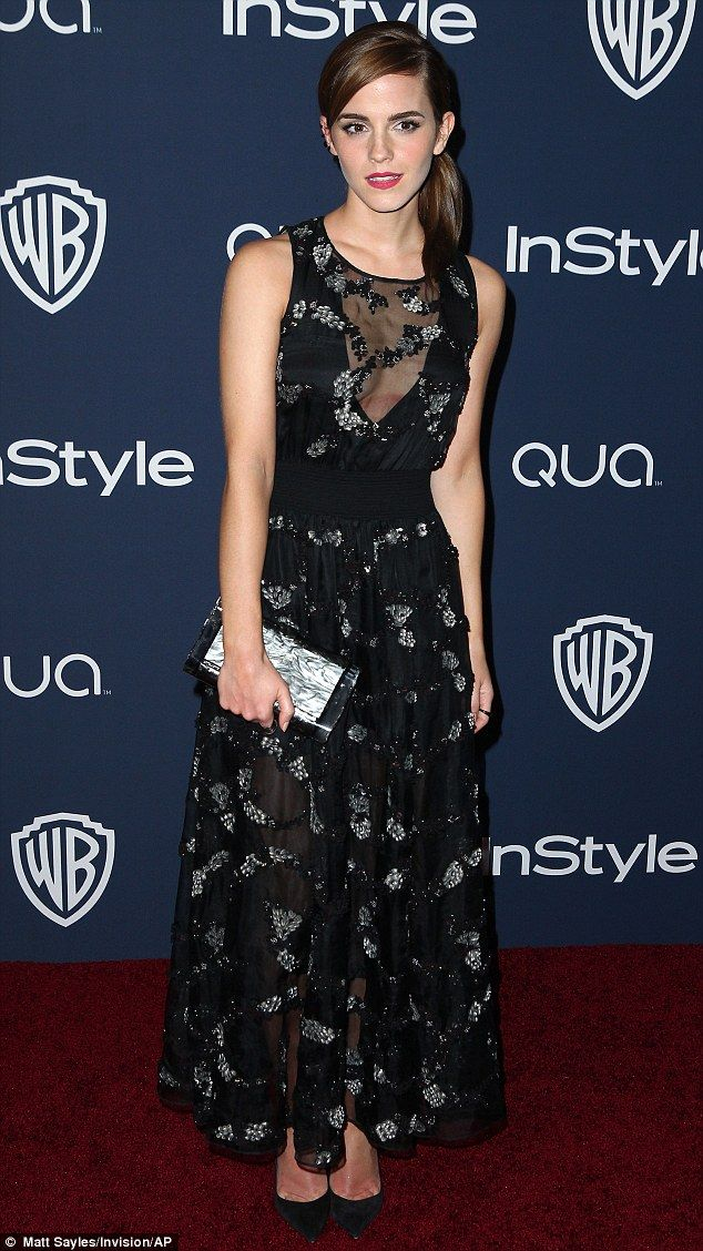 Pretty perfect: Emma Watson arrives at the 15th annual InStyle and Warner Bros. Golden Globes after party at the Beverly Hilton Hotel