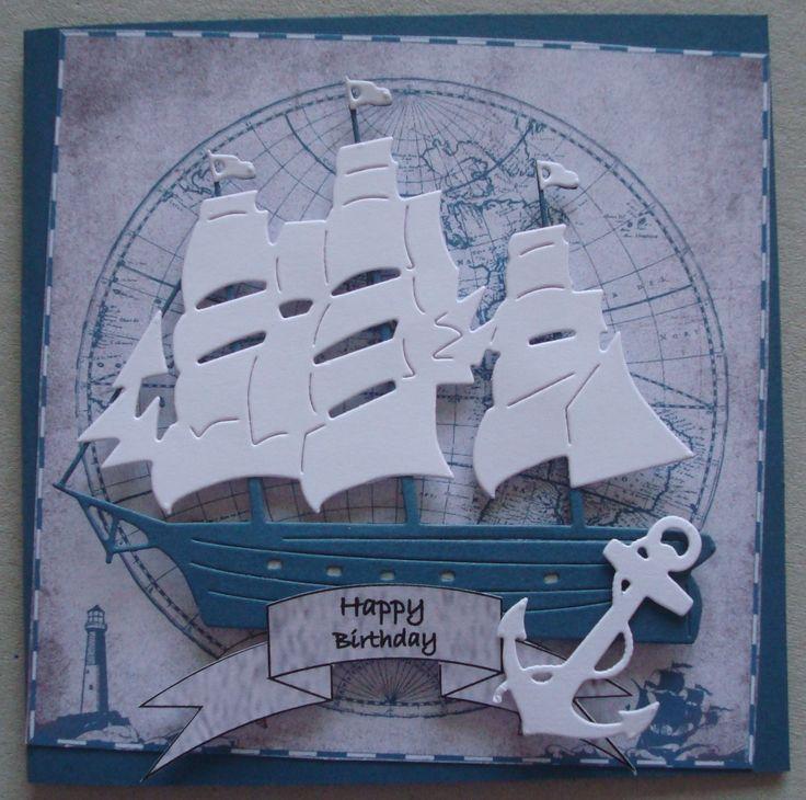 B088 Hand made birthday card using Cheery Lynn Mayflower die on SU Nautical paper