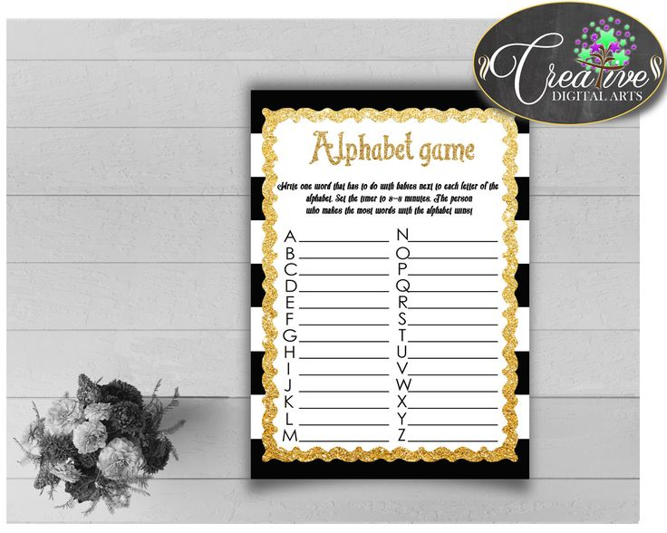 This is Baby Shower ABC's.... Go see it here http://snoopy-online.myshopify.com/products/baby-shower-abcs-game-with-black-white-stripes-theme-printable-glitter-digital-file-jpg-and-pdf-instant-download-bs001