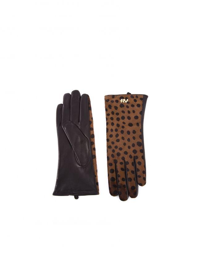 Guante de mujer, en pelo animal print tostado y negro