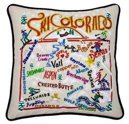 Ski Colorado Embroidered Pillow - Ski Colorado Souvenir Catstudio | P.C. Fallon Co.